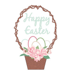 happy easter card with eggs flower bouquet vector image