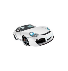 White sports prestige car front view vector