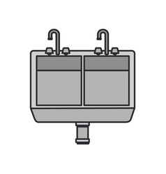 Color image of front view kitchen sink vector