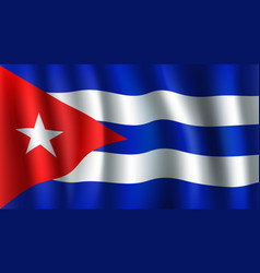 3d flag of cuba cuban national symbol vector