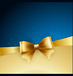 Golden bow on blue background vector