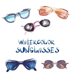 Watercolor set sunglasses vector