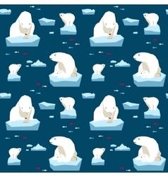 White bear seamless pattern vector image