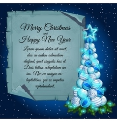 Christmas tree balls and card parchment for text vector