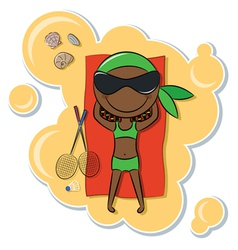 African-American girl on the beach vector image