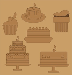 Card with six big cream layered cakes over a brown vector