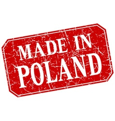Made in poland red square grunge stamp vector