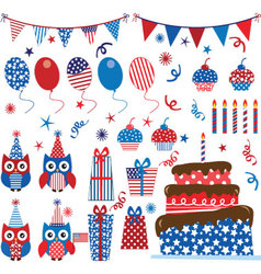 Fourth of july patriotic owls party set vector