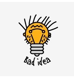 Bad idea color symbol bulb face logo icon fun sign vector