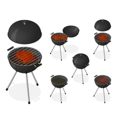Opened and closed barbecue grill set vector