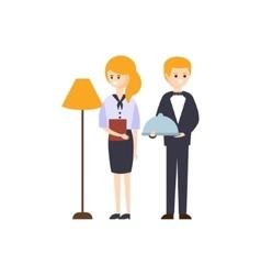 Administrator and restaurant waiter hotel themed vector