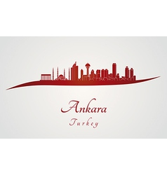 Ankara skyline in red vector