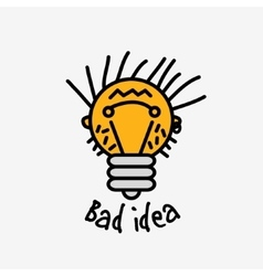 Bad idea color symbol bulb face logo icon fun sign vector