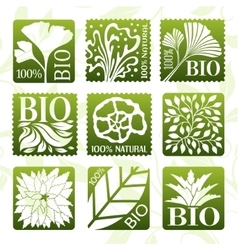 Bio product labels stikers and badges vector image vector image