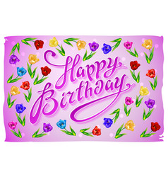 Birthday template violet greeting card happy vector