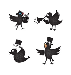 Cartoon birds set vector image vector image