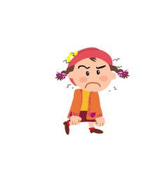 Cartoon character girl angry vector