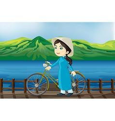 Cartoon Vietnam Girl vector image vector image