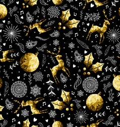 Christmas gold low poly holiday symbols pattern vector image vector image