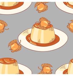 Creme caramel dessert seamless pattern in vector image