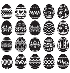 easter egg set black vector image vector image