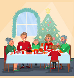 Family christmas dinner with grandparents vector