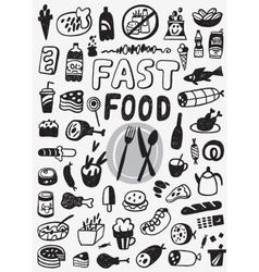 Fast food - doodles set vector image vector image