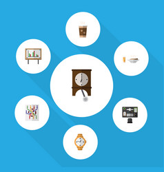 Flat icon oneday set of cappuccino router bureau vector