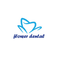 flower dental logo template vector image vector image