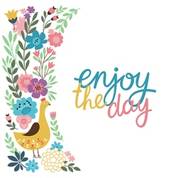 Greeting card design enjoy the day lettering vector