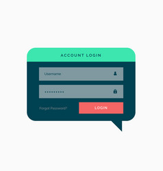 Login template design in chat bubble style with vector