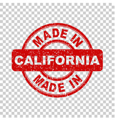 Made in california red stamp on isolated vector
