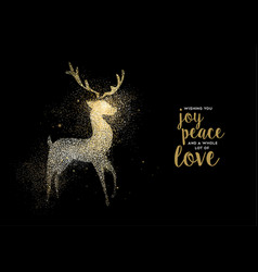 merry christmas gold glitter deer holiday card vector image vector image