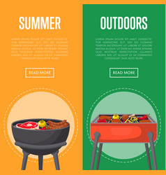 Outdoor summer picnic flyers with meats on bbq vector