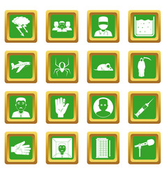 Phobia symbols icons set green vector
