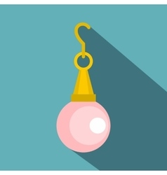Pink pearl pendant icon flat style vector image