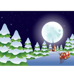 Santa Riding Christmas Sleigh at Night4 vector image