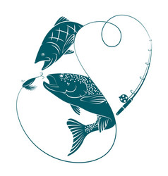 silhouettes with fish for fishing vector image