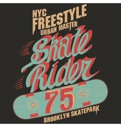 Skateboard graphic design for tee vector
