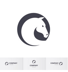 stylized white horse head in circle for mascot vector image vector image