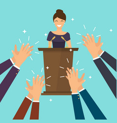 Success in business woman giving a speech on vector