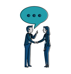 successful business couple with speech bubble vector image