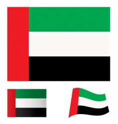 united Arab emirates flag set vector image