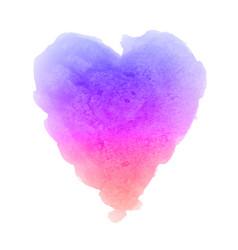 Watercolor gradient textured heart painting vector