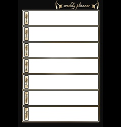 Weekly planner black and gold vertical vector