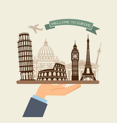 welcome to europe attractions of europe on a tray vector image vector image