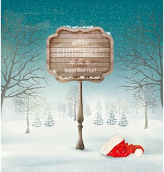 Winter christmas landscape with a wooden ornate vector image
