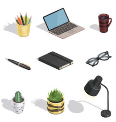 Workspace items isometric icons vector