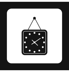 Square wall clock icon simple style vector