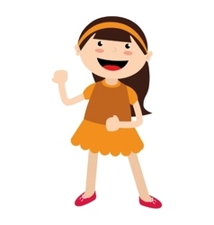Girl cartoon kid happy isolated design vector